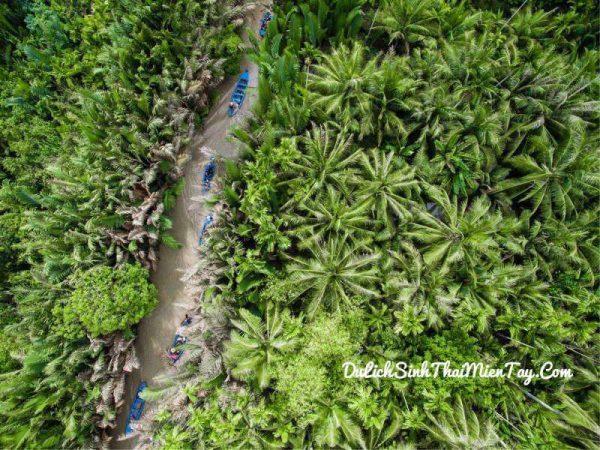 Đò chèo đưa du khách len lỏi qua các rạch dừa nước